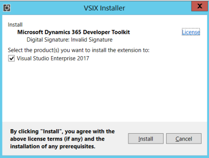 Install Dynamics 365 Developer Toolkit with Visual Studio